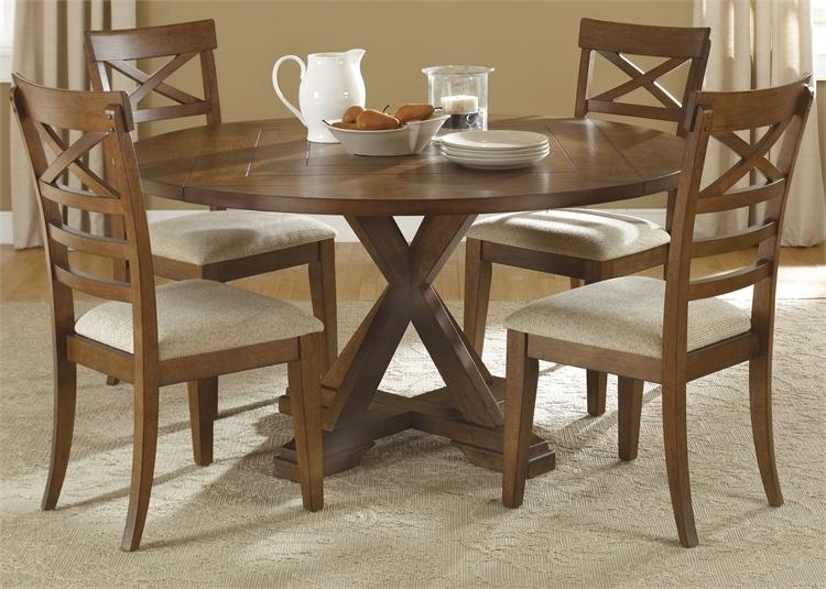 Hearthstone 5 Piece Drop Leaf Pedestal Table In Rustic Oak