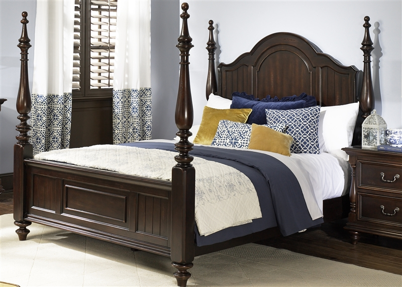 River Street Poster Bed 6 Piece Bedroom Set in Burgundy Spice ...