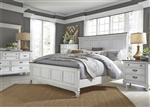 Allyson Park Panel Bed 6 Piece Bedroom Set in Wirebrushed White Finish with Wire Brushed Charcoal Tops by Liberty Furniture - 417-BR-QPBDMN