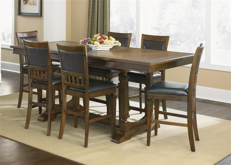 Sante Fe Trestle Counter Height Table 5 Piece Dining Set In Dark Rustic Oak  Finish By Liberty Furniture   420 GT4084