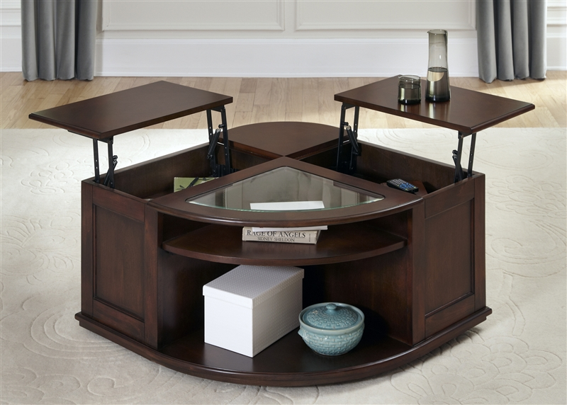 Wallace Cocktail Table In Dark Toffee Finish By Liberty