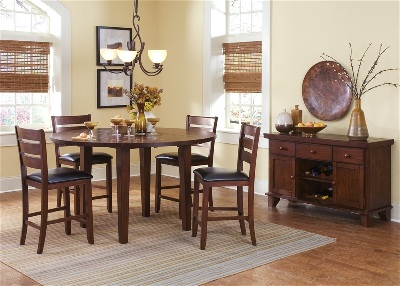 Chili Pepper Lazy Susan Pub Table 5 Piece Dining Set In Cayenne Cherry  Finish By Liberty Furniture   46 GT6060