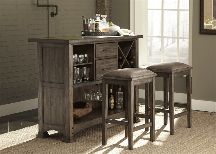 Stone Brook 3 Piece Bar Set In Rustic Saddle Finish By