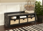 Hearthstone Cubby Storage Bench in Rustic Black Finish by Liberty Furniture - 482-OT47