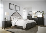 Chesapeake Upholstered Bed 6 Piece Bedroom Set in Wire Brushed Antique Black Finish by Liberty Furniture - 493-BR-QUBDMN