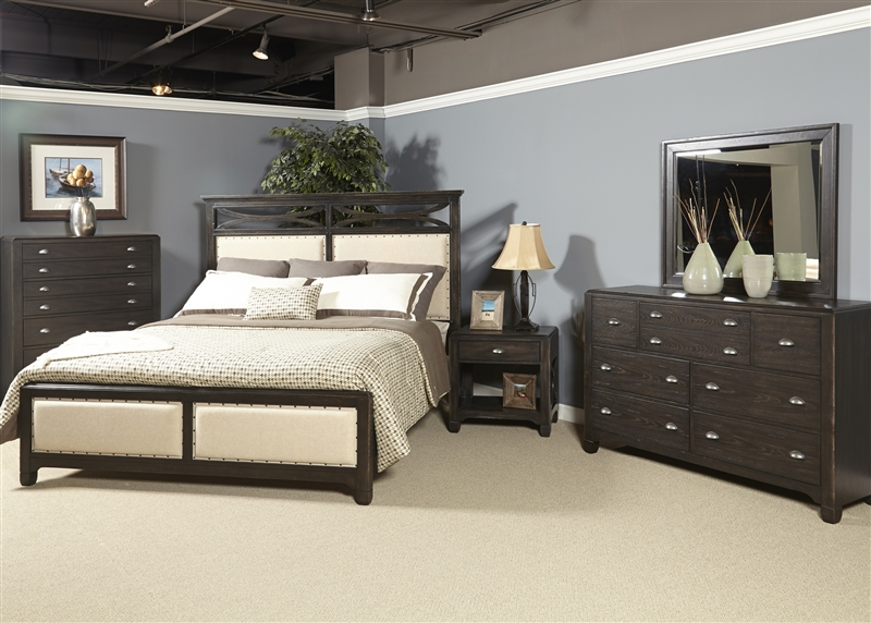 Town & Country 6 Piece Bedroom Set in Black Stone Finish by ...