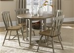 Al Fresco Drop Leaf Leg Table 5 Piece Dining Set in Driftwood & Taupe Finish by Liberty Furniture - 541-T4242