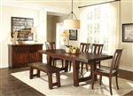 Tahoe Trestle Table 6 Piece Dining Set in Mahogany Stain Finish by Liberty Furniture - 555-T4090-6
