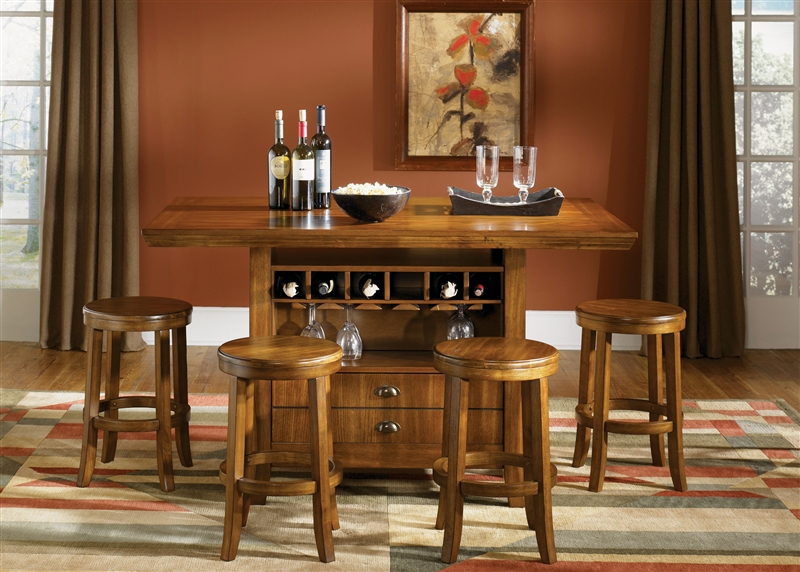 Pub Casual Dining 5 Piece Center Island Table Set In Oak Finish By Liberty Furniture 57