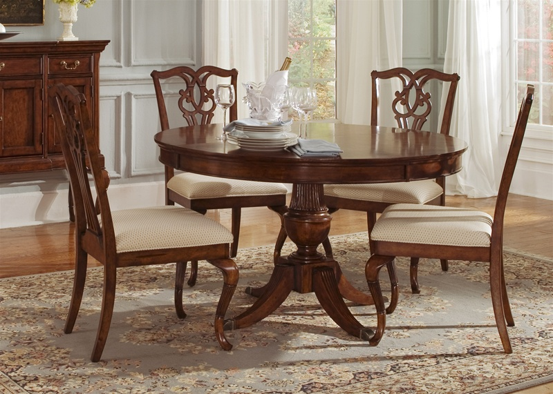 Ansley Manor Round Pedestal Table 5 Piece Dining Set In Cinnamon Finish By  Liberty Furniture   577 P7070