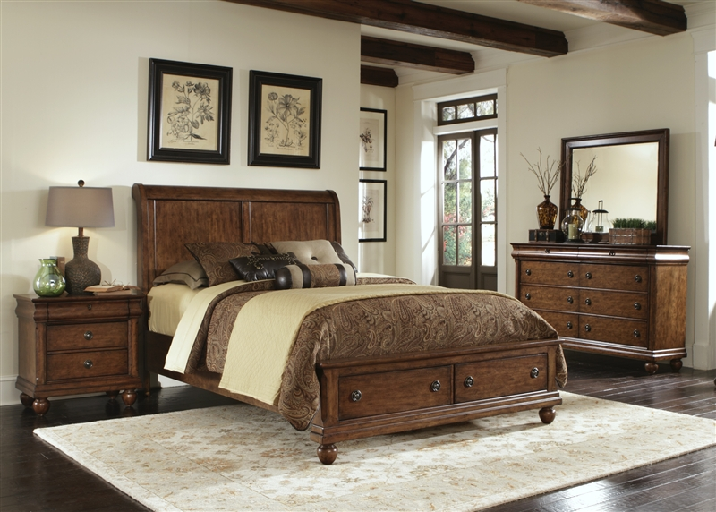 Rustic Traditions Storage Bed 6 Piece Bedroom Set In Cherry Finish By Liberty Furniture Lib 589 Br21fs