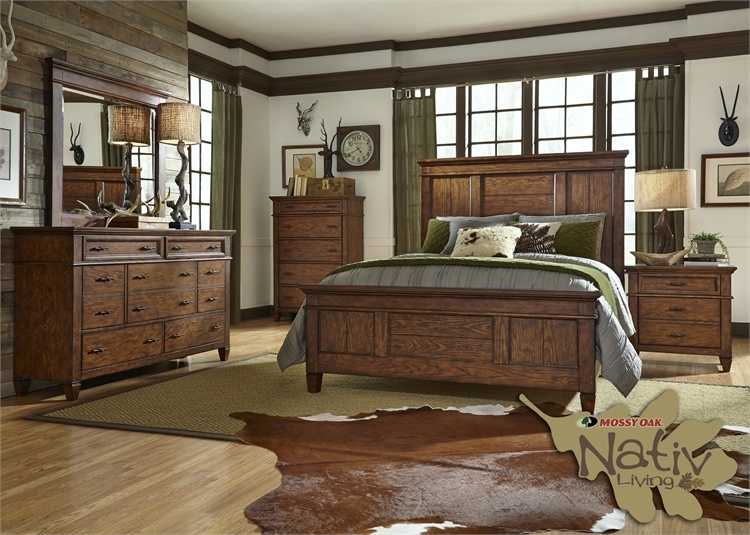rocky mountain camo panel bed 6 piece bedroom set in whiskey brown