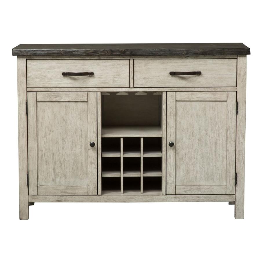 Willowrun Sideboard In Rustic White And Weathered Gray Top