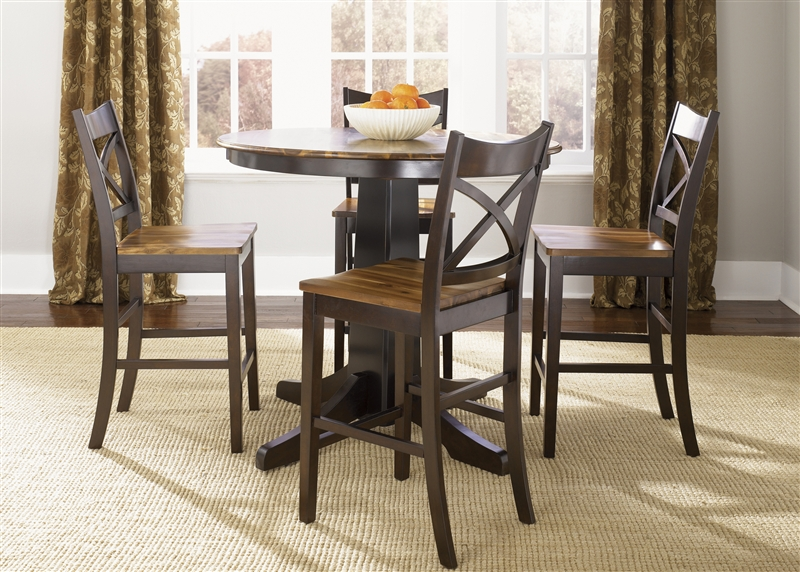 cafe collections pub table 3 piece dining set in twotone acacia u0026 merlot finish by liberty furniture 63pub4242