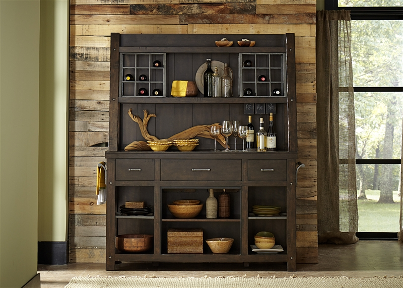 Moreno Valley Buffet and Hutch in Cobble Brown Finish by Liberty Furniture  - 639-CB6479WO - Moreno Valley Buffet And Hutch In Cobble Brown Finish By Liberty