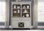 Farmhouse Reimagined Buffet and Hutch in Antique White Finish with Chestnut Tops by Liberty Furniture - 652-DR-HB