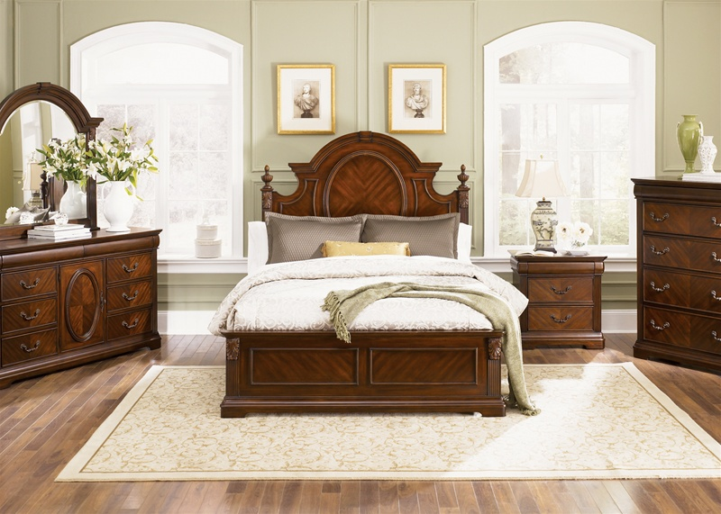 Lasting Impressions Poster Bed 6 Piece Bedroom Set in Cognac ...