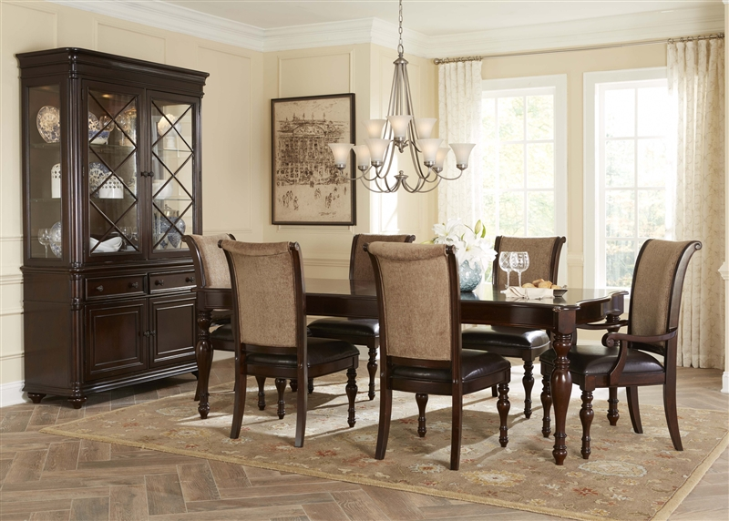 kingston plantation 7 piece leg table dining set in hand rubbed cognac finish by liberty furniture 720t4408