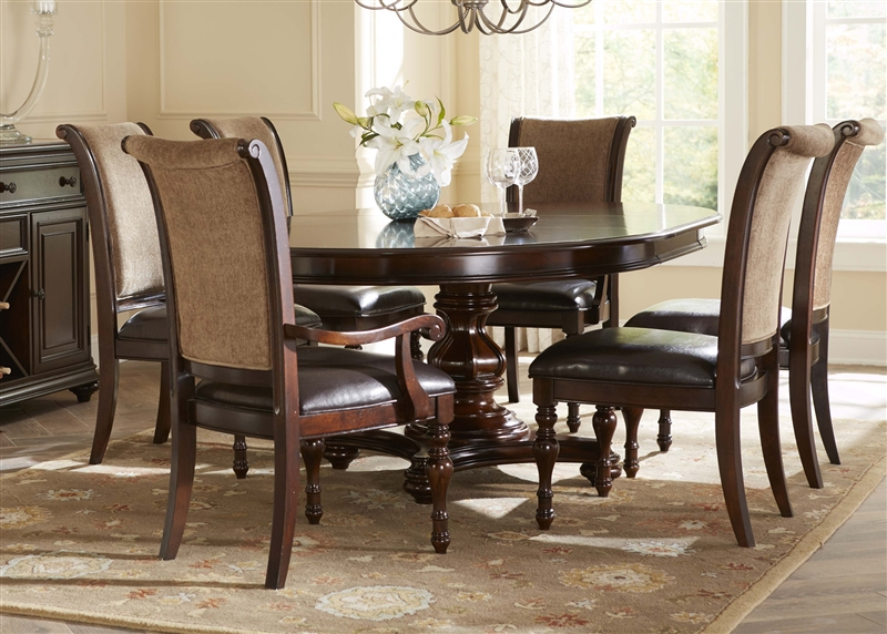 Kingston Plantation Oval Pedestal Table 5 Piece Dining Set