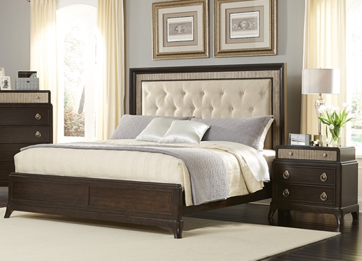 Manhattan Upholstered Panel Bed 6 Piece Bedroom Set in Sable and ...