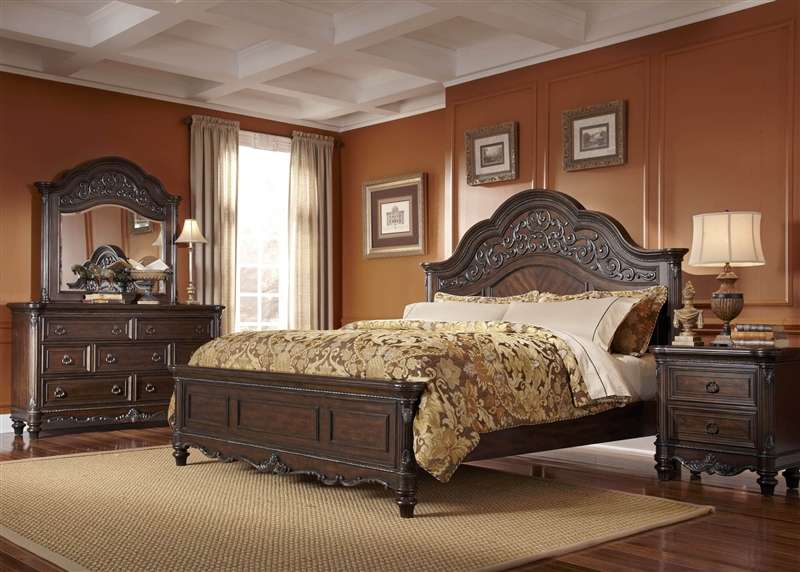 Clayton Manor 6 Piece Bedroom Set in Chestnut Finish by Liberty ...