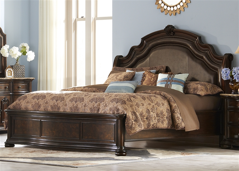 Le Grande Platform Bed 6 Piece Bedroom Set in Rich Nutmeg Finish ...
