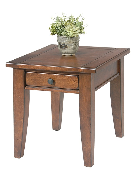 Treasures rectangular cocktail table in rustic cherry for Rustic cherry coffee table