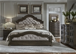 Valley Springs Upholstered Bed 6 Piece Bedroom Set in Wire Brushed Light and Dark Chestnut Finish by Liberty Furniture - 822-BR