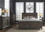 Artisan Prairie Panel Bed 6 Piece Bedroom Set in Wirebrushed Aged Oak Finish by Liberty Furniture - 823-BR-QPBDMN