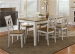 Al Fresco Rectangular Leg Table X Back Chairs 5 Piece Dining Set in Driftwood & Sand Finish by Liberty Furniture - 841-C3000S