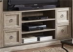 Mirrored Reflections 59 Inch TV Stand in Wire Brushed Heathered Taupe Finish with Dusty Wax by Liberty Furniture - 874-TV59