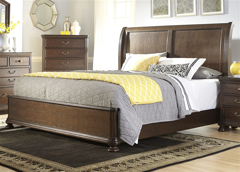 Covington place sleigh bed in cognac finish by liberty for Furniture 888