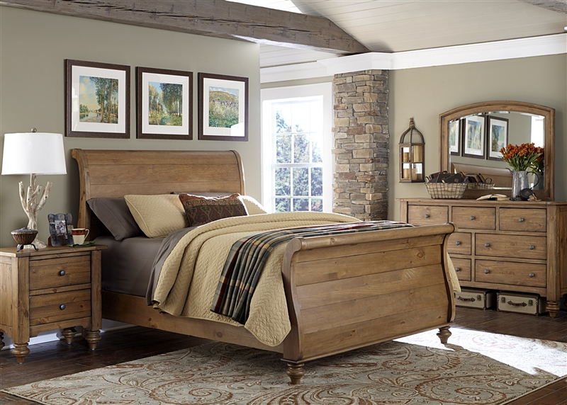 Southern Pines Sleigh Bed 6 Piece Bedroom Set In Vintage