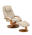 Oslo Euro 2 Piece Swivel Recliner in Teatro (Tan) Linen Fabric with Walnut Finish by MAC Motion Chairs 52-36-103