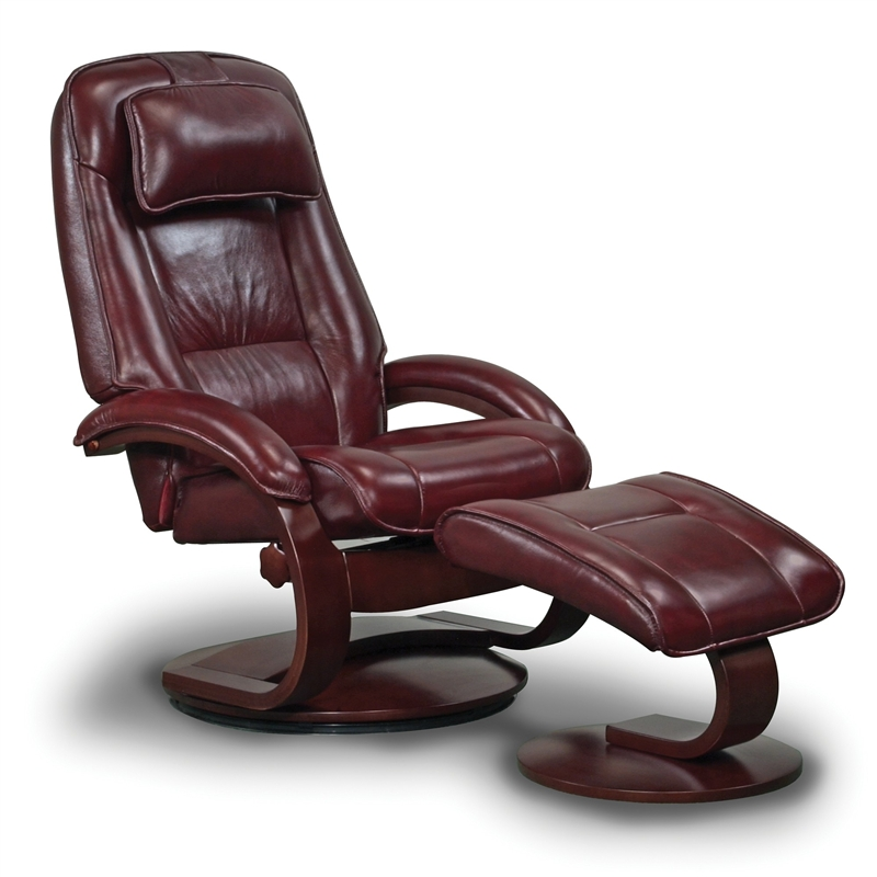 Oslo Bergen 2 Piece Swivel Recliner Merlot Leather