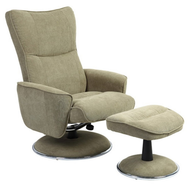 Bon MAC Motion Chairs 838/08/UPH 2 Piece Swivel Recliner Avocado Green Fabric U0026  Chrome Finish
