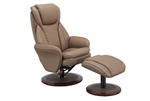 Norway Euro 2 Piece Swivel Recliner Comfort Chair in Sand (Tan) Leather with Walnut Finish by MAC Motion Chairs NORWAY-240-11