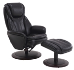 Norway Euro 2 Piece Swivel Recliner Comfort Chair in Black Breathable Air Leather with Alpine Finish by MAC Motion Chairs NORWAY-809-25A-200