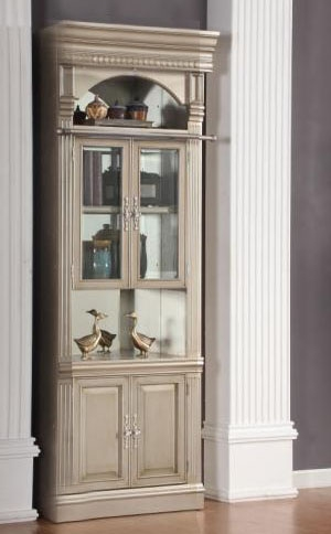 allure 32inch glass door bookcase in champagne finish by parker house all440