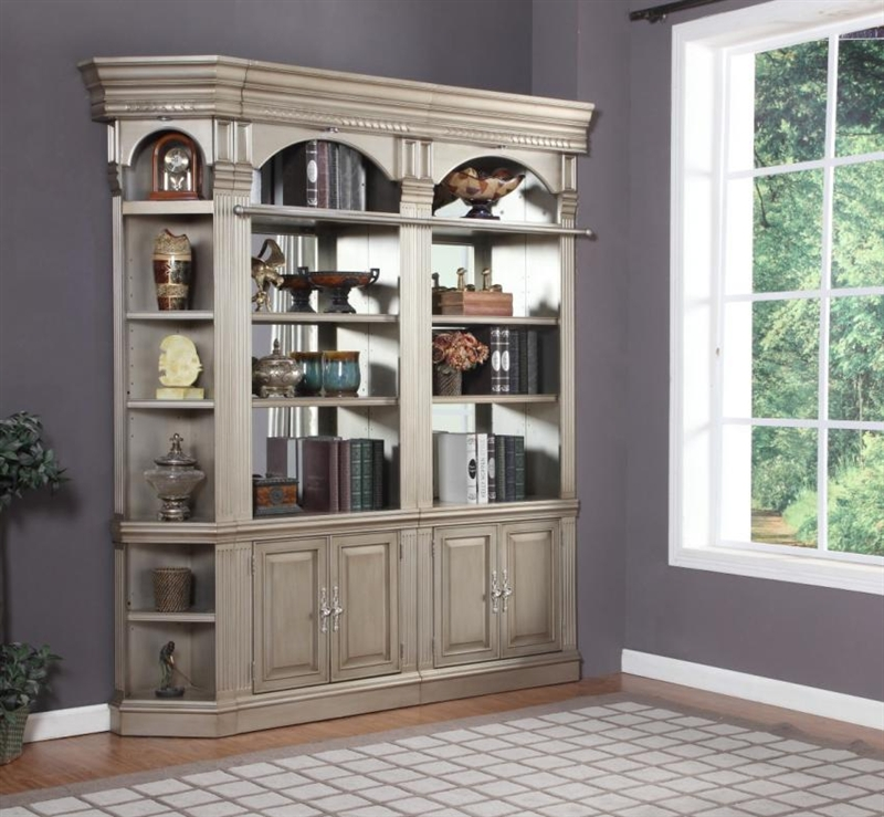 Allure 32-Inch Glass Door Bookcase in Champagne Finish by Parker House -  ALL#440 - Allure 32-Inch Glass Door Bookcase In Champagne Finish By Parker