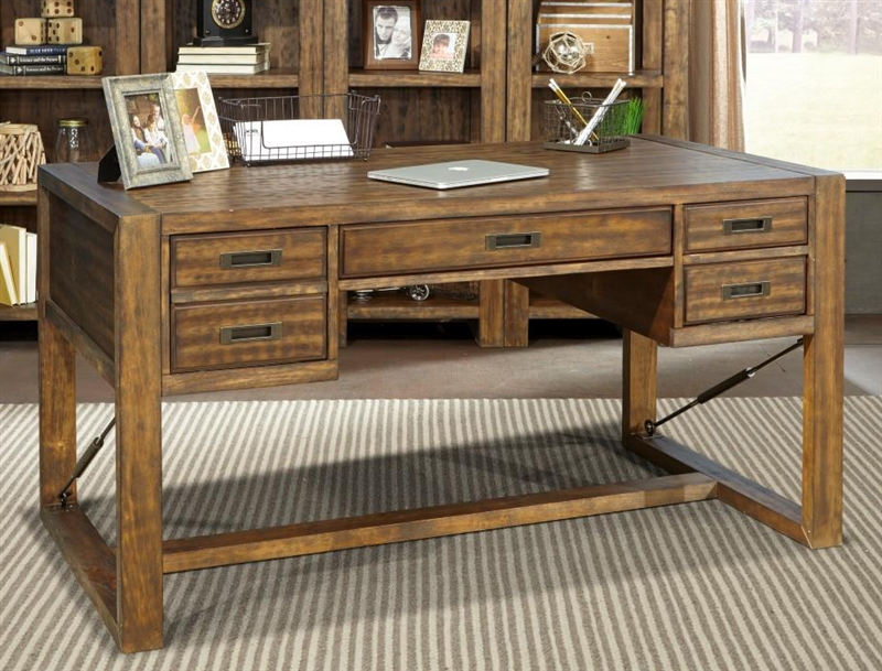 Home Office Sets Painted Office 5 Piece: Allister 5 Piece Home Office Set In Cognac Finish By