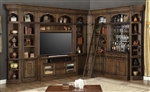 Aria 60 Inch TV Console 10 Piece Entertainment Bar Bookcase Library Wall in Antique Vintage Smoked Pecan Finish by Parker House - ARI-412-10