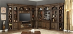 Aria 60 Inch TV Console 11 Piece Entertainment Bar Bookcase Library Wall in Antique Vintage Smoked Pecan Finish by Parker House - ARI-412-11