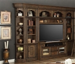 Aria 60 Inch TV Console 6 Piece Entertainment Wall in Antique Vintage Smoked Pecan Finish by Parker House - ARI-412-6