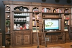 Aria 60 Inch TV Console 8 Piece Bar Entertainment Wall in Antique Vintage Smoked Pecan Finish by Parker House - ARI-412-8