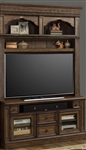 Aria 60 Inch TV Console with Hutch in Antique Vintage Smoked Pecan Finish by Parker House - ARI-412-H