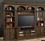 Aria 60 Inch TV Console 4 Piece Entertainment Wall in Antique Vintage Smoked Pecan Finish by Parker House - ARI-430-04