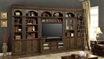 Aria 60 Inch TV Console 6 Piece Entertainment Wall in Antique Vintage Smoked Pecan Finish by Parker House - ARI-430-06
