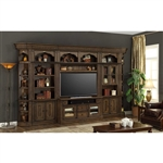 Aria 60 Inch TV Console 4 Piece Entertainment Wall in Antique Vintage Smoked Pecan Finish by Parker House - ARI-430-4