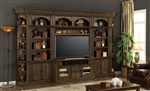 Aria 60 Inch TV Console 6 Piece Entertainment Wall in Antique Vintage Smoked Pecan Finish by Parker House - ARI-430-6